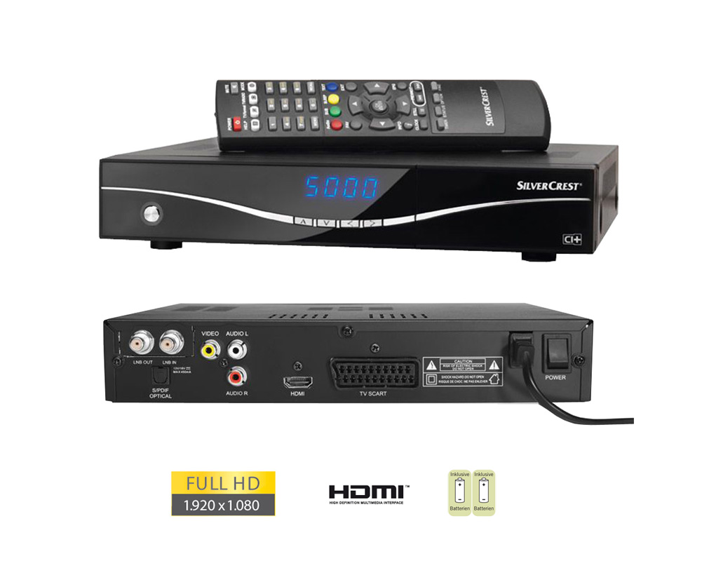silvercrest digitaler full hd sat receiver satellite hdtv. Black Bedroom Furniture Sets. Home Design Ideas